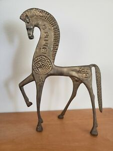 Brass Etruscan Horse Mid Century Statue 10 5 Tall No Stamp Or Marking