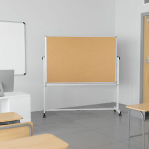 Reversible Mobile Cork Bulletin Board And White Board Stand With Pen Tray