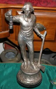 Antique German Spelter Metal Statue Man Holding Lantern Axe Pick Silver Color