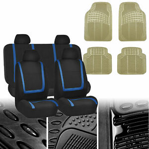 Car Seat Covers Blue Black Full Set For Auto W all Weather Floor Mats