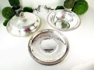 Vintage Silver Plate Serving Set Covered Dish Serving Bowl And Serving Tray