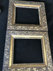 Pair Antique Wood Gold Gilt Gesso 3 Layer Picture Frames 10 X 12 Opening Guc