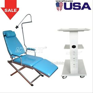 Dental Folding Chair Rechargeable Led Light Simple Type 3layers Mobile Tool Cart