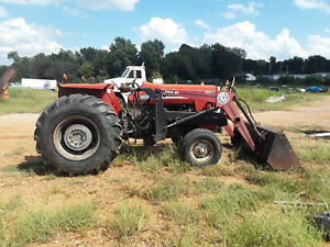 Massey 255 Tractor With Bush Hog Front End Loader Excellent Condition