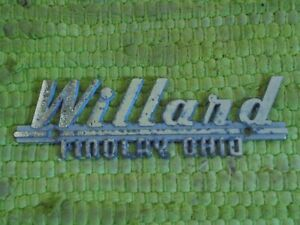 Vintage Willard Desoto Plymouth Dealer Nameplate Emblem Findlay Oh Ohio