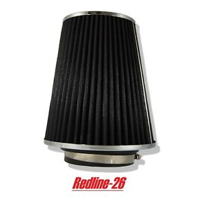 Black Universal Cone Truck Cold Air Filter Replacement 3 5 80 Mm Inlet