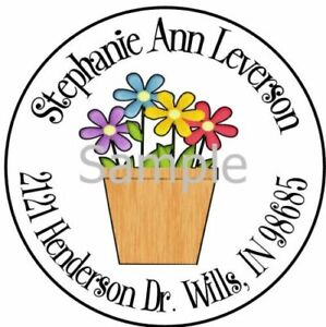 Flowers In A Pot Flower 69 Laser Round Address Labels glossy Matte