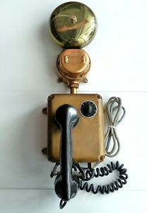 Stromberg Carlson Brass Sound Powered Telephone Navy Ship 6 Bell Antique