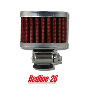 Red Clamp On Replacement Dry Crankcase Breather Air Filter 5 8 16 Mm Inlet