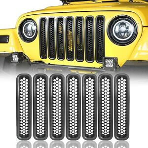 Honeycomb Front Grille Covers Insert Mesh Grill For Jeep Wrangler Tj 1997 2006
