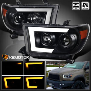 For 2007 2013 Toyota Tundra 2008 Sequoia Black Led Drl Projector Headlights