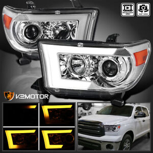 For 2007 2013 Toyota Tundra 2008 Sequoia Led Drl Sequential Projector Headlight