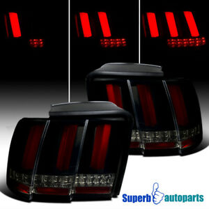For 1999 2004 Ford Mustang Smoke Led Sequential Red Tube Tail Brake Lights Lamps
