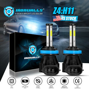 Ironwalls H11 Led Headlight Super Bright Bulbs Kit 330000lm Hi Lo Beam 6000k New