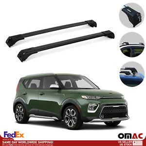 Roof Rack Cross Bars Luggage Carrier Black Set For Kia Soul X Line 2020 2021