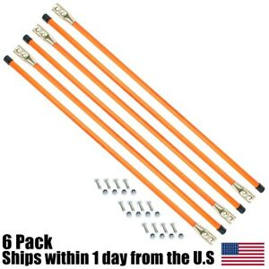 6pk 36 Snow Plow Guides Stakes Markers Safety Orange Bolt On W Hardware