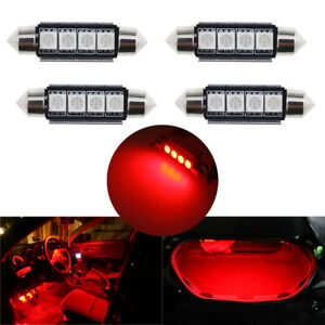 4pc Red 4 smd Error Free 578 211 2 6411 Led Bulb Map Dome Trunk Area Cargo Light
