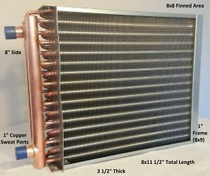 8x8 Water To Air Heat Exchanger 1 Copper Ports With Install Kit