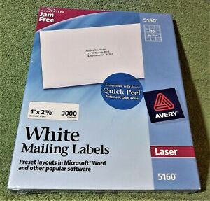 1 Box Of 3000 Avery 5160 Address White Mailing Shipping Labels 1 X 2 5 8
