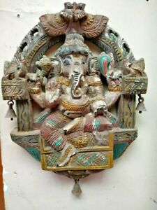 Antique Ganesh Wall Panel Wooden Ganesha Statue Hindu Sculpture Temple Kavadi Us