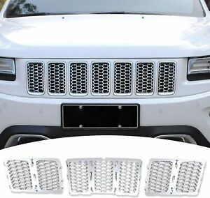 Front Grille Inserts Clip on Grill Trim Kit For Jeep Grand Cherokee 2014 2016 3x