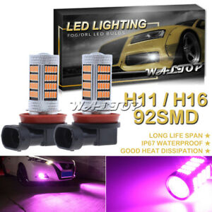2x 92smd Pink Purple Led Projector Driving Fog Lights Bulb H11 H16 H8 High Power