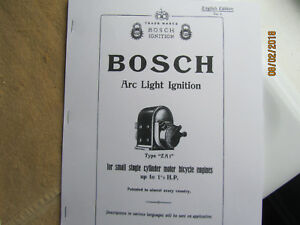 Bosch Type Za1 1 Cylinder Magneto Instructions Operating Parts Manual
