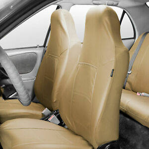 Highback Bucket Seat Covers Pair Pu Leather For Auto Car Suv Van Beige