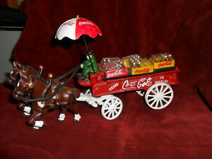 Vintage Cast-Iron Coca-Cola Horse-Drawn Wagon in Great Condition.