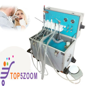 Portable Mobile Dental Delivery Unit System Cart Treatment Work Compressor 2hole
