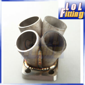 Stainless Steel Manifold Header Collector 4 Cylinder T3 T3 t4 Flange Us Stock