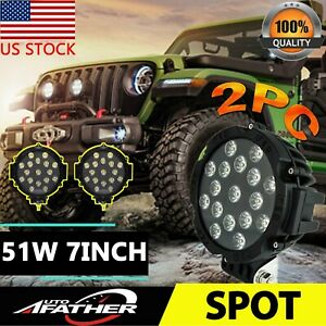 2x 51w 7 Round Led Work Light Spot Driving Lamp Fog Jeep Offroad Atv 4wd Black