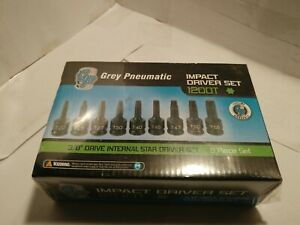 Gray Pneumatic 9 Pc 3 8 Dr Impact Internal Star Driver Set 1200t