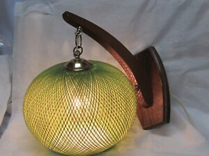 Vintage Mid Century Modern Eames Hanging Wicker Mushroom Wall Sconce Lamp Light