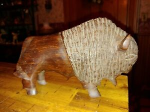 Vintage Carved Wooden Buffalo