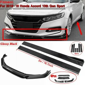 Front Bumper Lip Body Kit 78 7 Side Skirts For 2018 19 Honda Accord 10th Gen