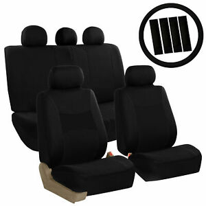 Car Seat Covers Black Set For Auto W steering Wheel belt Pad head Rests