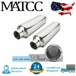 2x 2 25 In Out 14 Overall Universal Car Exhaust Turbine Muffler Resonator Us