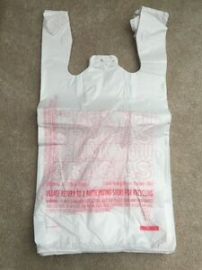 New 100ct Large 1 6 Thank You T shirt Plastic Grocery Shopping Bags With Handle