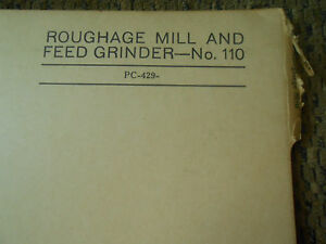 John Deere 110 Roughage Mill Feed Grinder Parts Catalog Pc 429