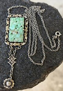 Antique Old Chinese Carved Green White Jade Silver Dangle Pendant Necklace
