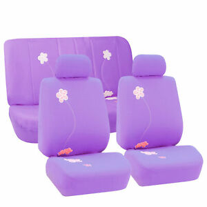 Purple Floral Design Full Seat Seat Covers For Auto Car Suv Van Universal Fit