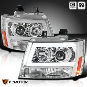 For 2007 2014 Chevy Suburban Tahoe Avalanche Led Strip Tube Projector Headlights