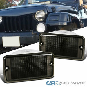 Bumper Lights For Jeep 97 06 Wrangler Tj Smoke Tinted Front Signal Parking Lamps