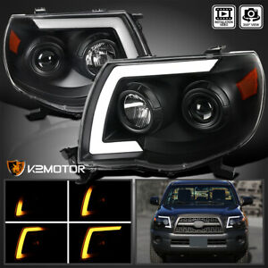 For 2005 2011 Toyota Tacoma Black Sequential Led Strip Tube Projector Headlights
