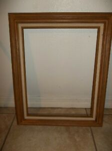 Vintage Picture Frame 18x14 Linen And Wood Carved
