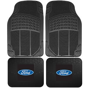 4pc Front Rear Car Truck All Weather Rubber Floor Mats Set Ford Logo Utility