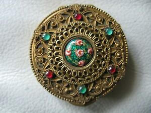 Antique Gold T Filigree Italian Glass Red Jewel Made In France French Compact
