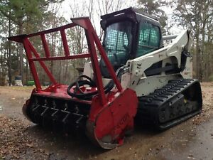 2011 Bobcat T870 Track Skid Steer Loader Fecon Forestry Cutter