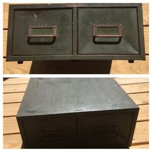 Steel Metal Green Library 2 Drawer File Card Catalog Cabinet Asco Read